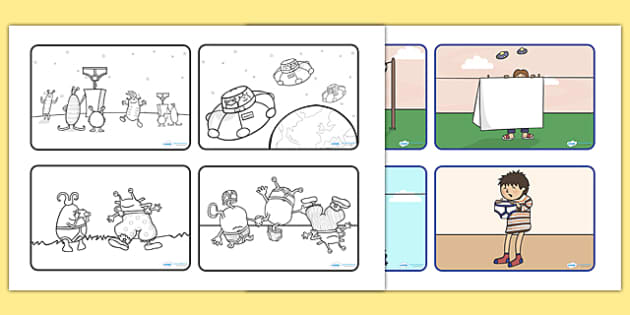 Story Sequencing 4 Per A4 To Support Teaching On Aliens Love
