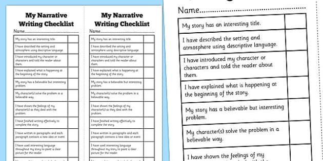 Narrative Writing Student Checklist Australia NAPLAN