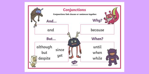 Conjunctions Ks1 Word Mat