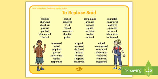 Using Higher Level Vocabulary Synonyms For Said Word Mat