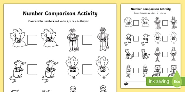The Enormous Turnip Number Comparison Worksheet Number