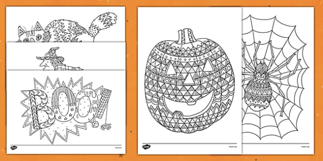 Halloween Themed Mindfulness Coloring Sheets Halloween