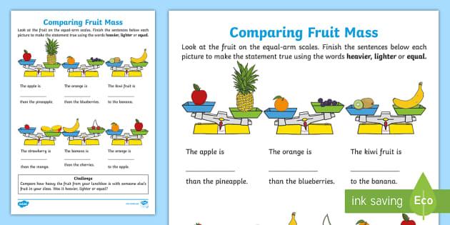 Comparing Fruit Mass Worksheet Worksheet Teacher Made