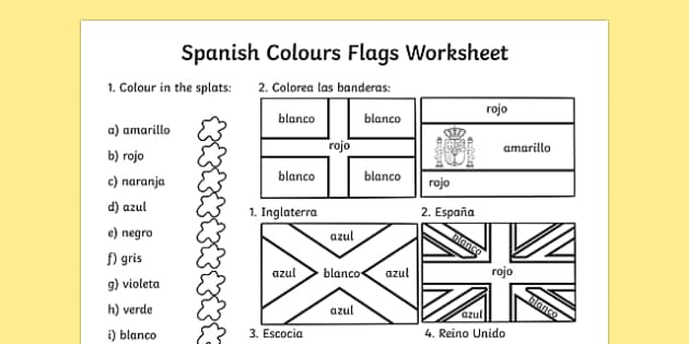 Spanish Colouring Flags Worksheet Worksheets Flag Colour