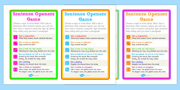 Sentence Openers Dice Activity Game Activity Sentence