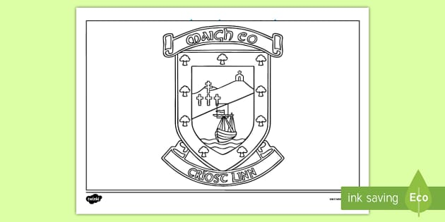 Mayo County Crest Colouring Page GAA Football All