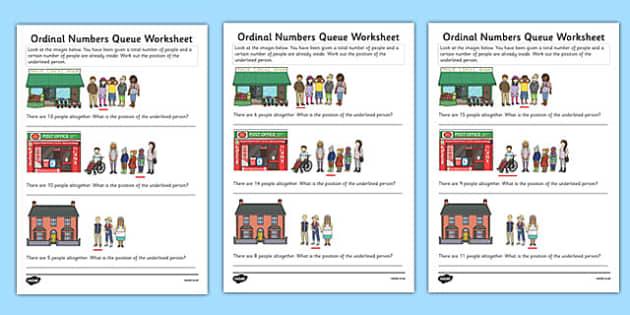 Ordinal Numbers Queue Worksheet