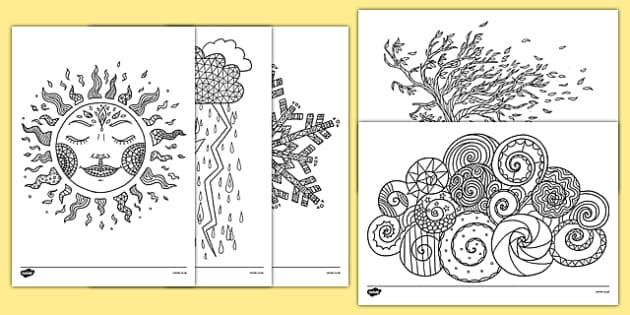 Weather Themed Mindfulness Colouring Sheets Weather
