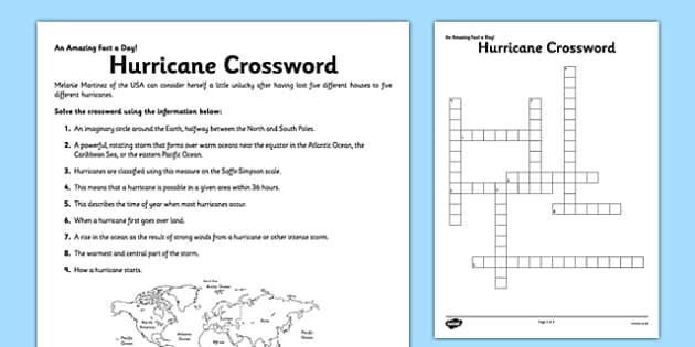 Hurricane Crossword Worksheet Activity Sheet