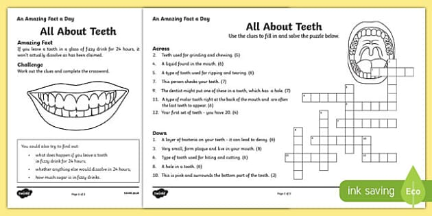 All About Teeth Crossword Worksheet Worksheet Worksheet
