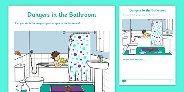 Dangers In The Bathroom Worksheet / Activity Sheet