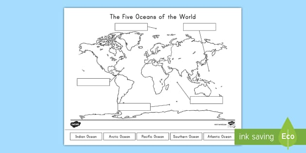 Actually, we only used to identify 4 oceans in the world. The Five Oceans Of The World Map Labelling Activity
