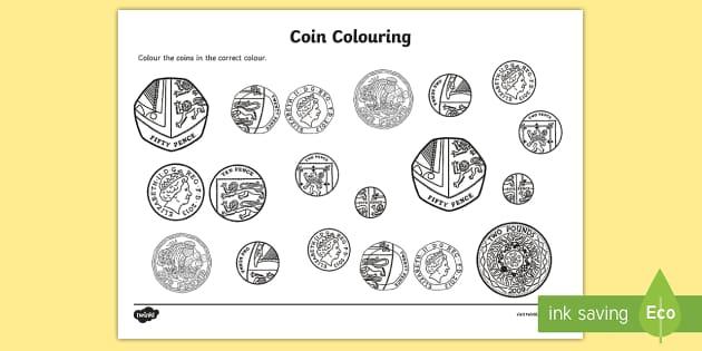 FREE Coins Colouring Worksheet Worksheet Money