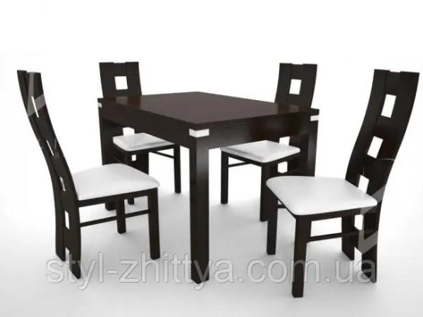 Великий стіл інкрустований алюмінієм з 4 кріслами: продажа ...