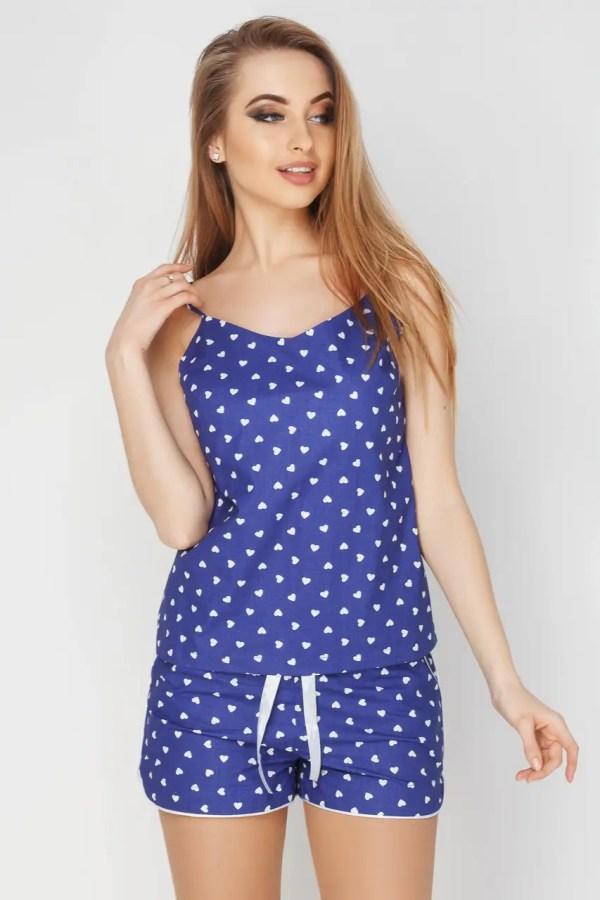 Женская котоновая пижама из сердечками синего цвета майка ...