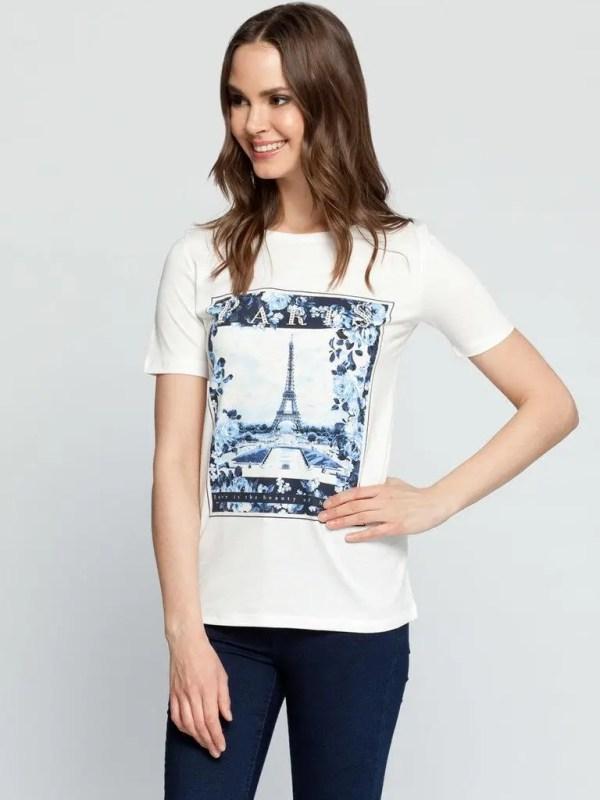 Белая женская футболка LC Waikiki / ЛС Вайкики с рисунком ...