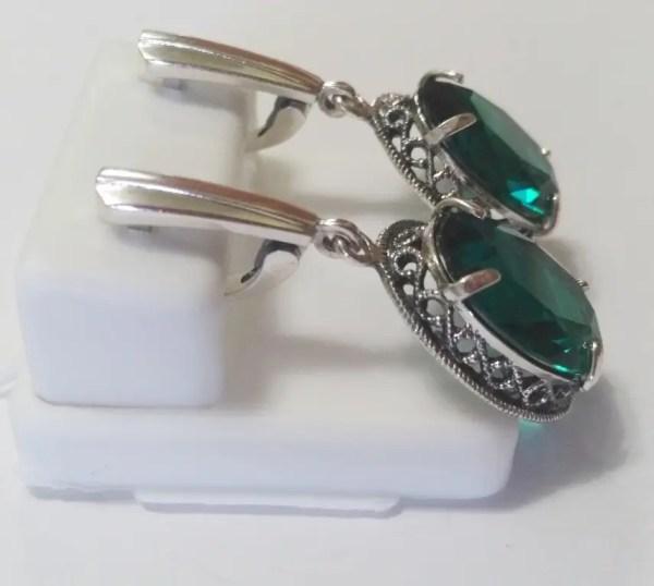 Серебряные серьги Империя с зеленым камнем: продажа, цена ...