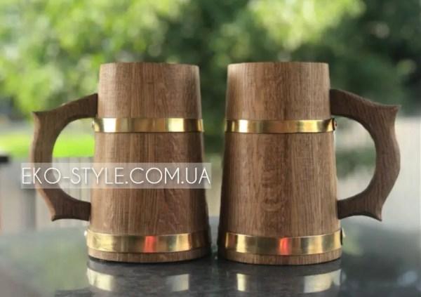 Деревянная пивная кружка 0.7л из дуба (бокал для бани и ...