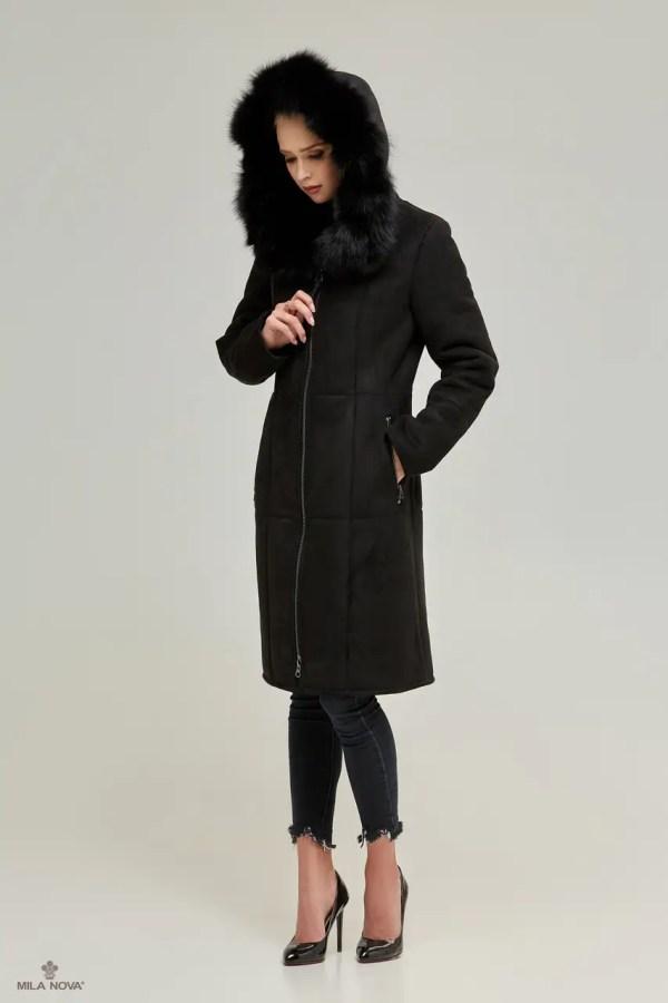 Женская зимняя дубленка с капюшоном Д-133: продажа, цена в ...