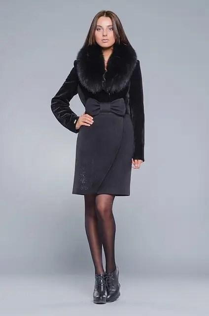 Пальто женское зимнее из кашемира с натуральным мехом ...