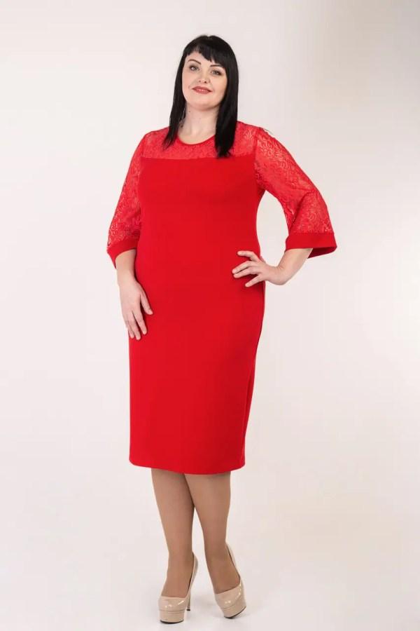 Приталенное женское платье больших размеров красное ...