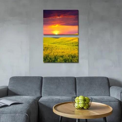 Модульная картина Поле желтых цветов и вечернее небо, на ...