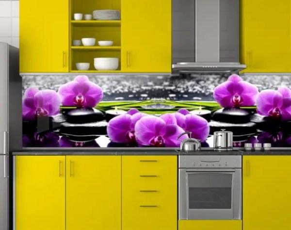 Пластиковый кухонный фартук ПВХ Фиолетовые орхидеи и ...
