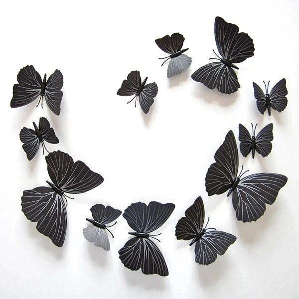 Объемные 3D бабочки. Набор 12 штук, черные. Декоративные ...
