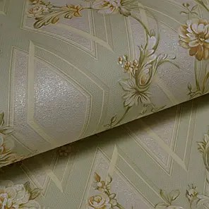 Обои для стен шпалери зелені дуплекс цветы ромбы 0,53*10м ...