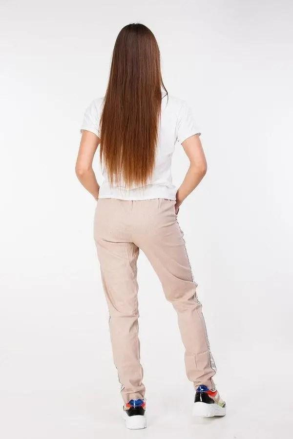 Легкие женские комбинированные брюки из льна и трикотажа ...