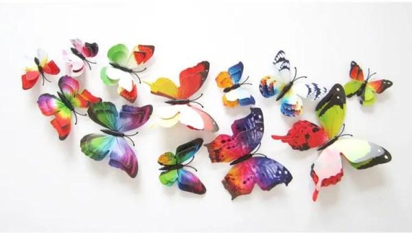 Объемные 3D бабочки на стену (обои) для декора двойные ...