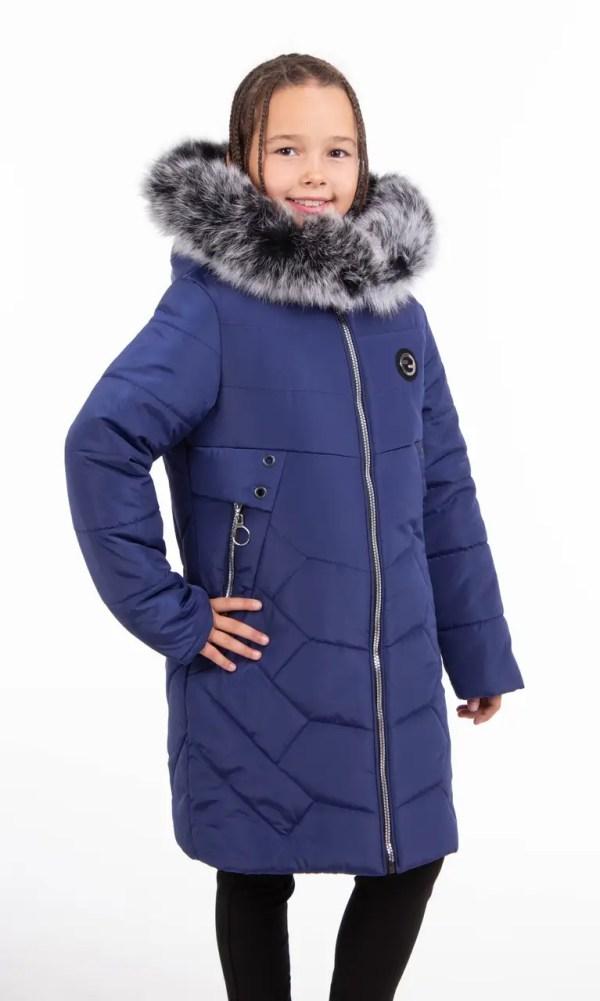 Куртки зимние для девочек с натуральным мехом 34-42 синий ...