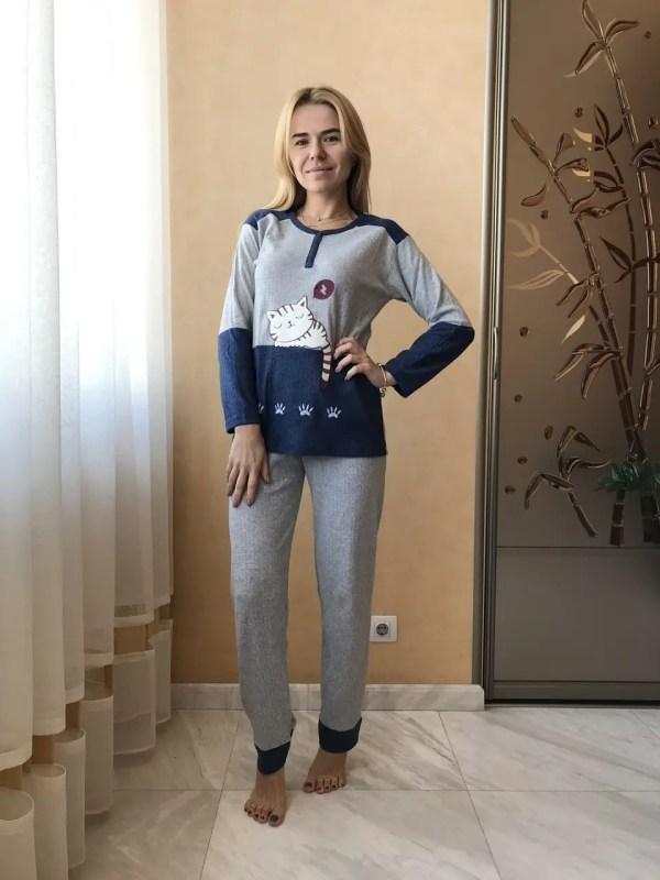 Пижама женская Спящий Кот Кашемир Хорошего качества ...