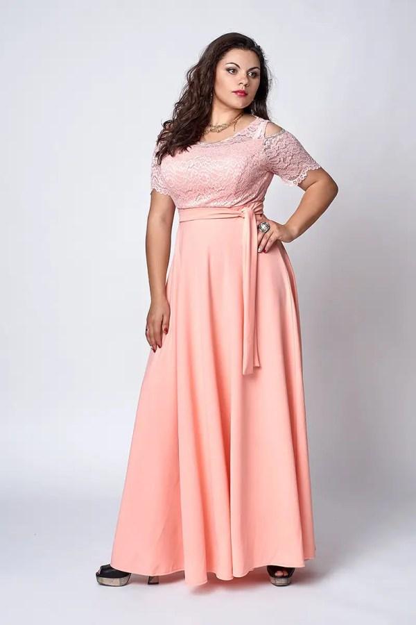 Элегантное женское платье больших размеров бежевое ...
