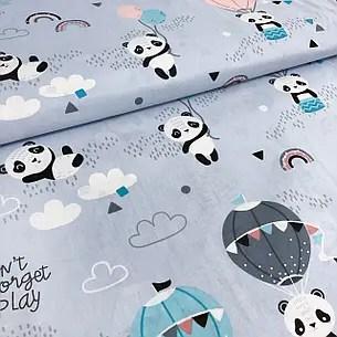 """Польская хлопковая ткань """"Панды с воздушными шарами на ..."""