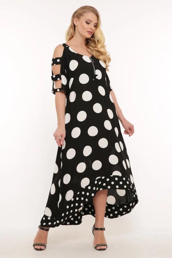 Летнее платье в пол Тропикана черное горох: продажа, цена ...