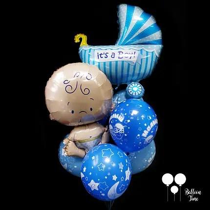 Связочка шаров с малышом и коляской для выписки из роддома ...