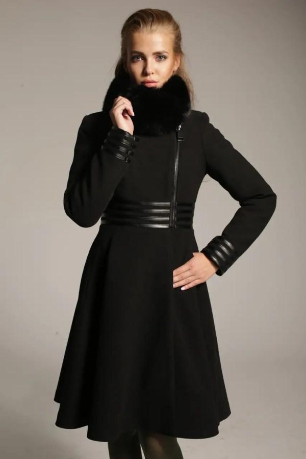 Женское зимнее пальто из кашемира Z-23 с воротником из ...
