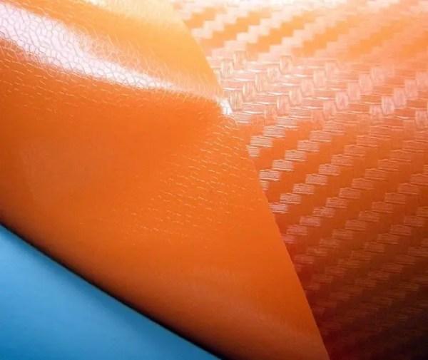 Купить Плёнку карбон 3D CF оранжевую с микроканалами ...