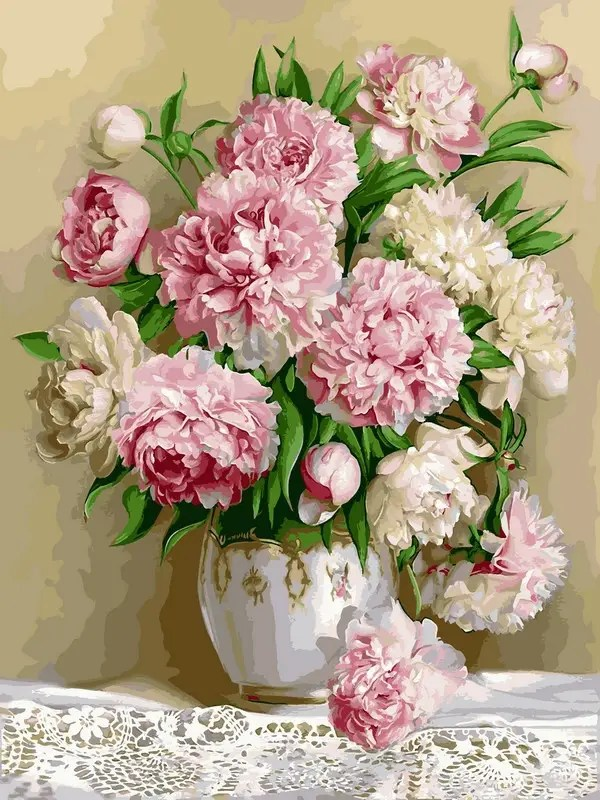 Картины по номерам 40×50 см. Роскошные пионы худ. Эдуард ...
