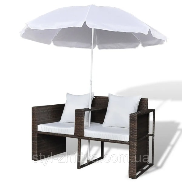 Диванчик з штучного ротангу з зонтом коричневий: продажа ...