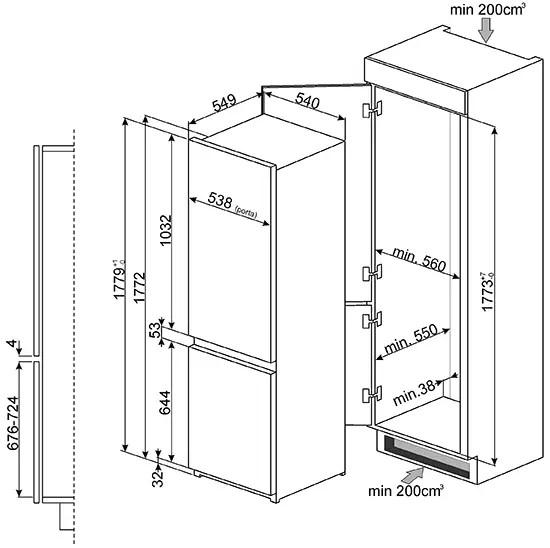 Встроенный холодильник Smeg C7280NLD2P: продажа, цена в ...