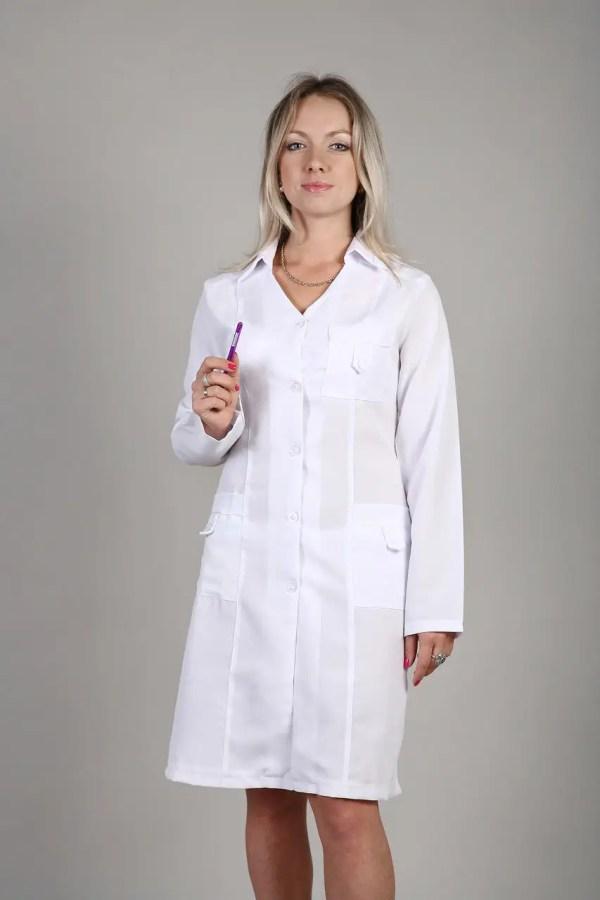 Белый медицинский халат для женщин из габардина: продажа ...