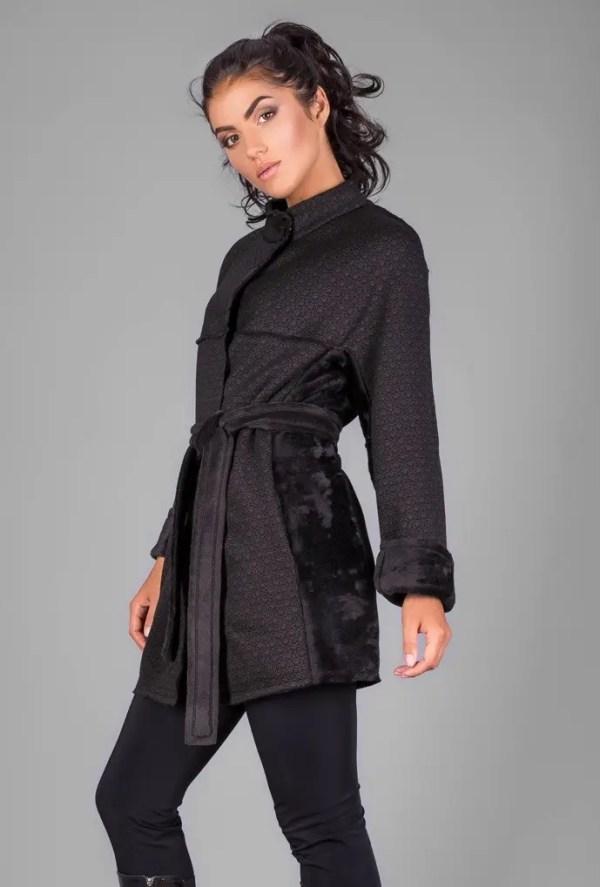Кардиган-пальто из высококачественного теплого трикотажа ...