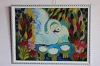 Малюнок на стеклі «Лебідь»