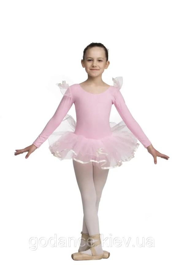 Купальник-пачка детская х/б розовая с длинным рукавом ...
