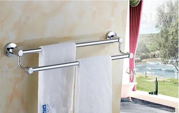 Вешалка для полотенец настенная двухуровневая в ванную или