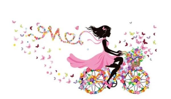Наклейка девочка на велосипеде 1550х780 мм: продажа, цена ...