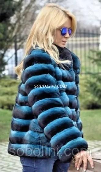 Полушубок из меха шиншиллы, голубой окрас: продажа, цена в ...