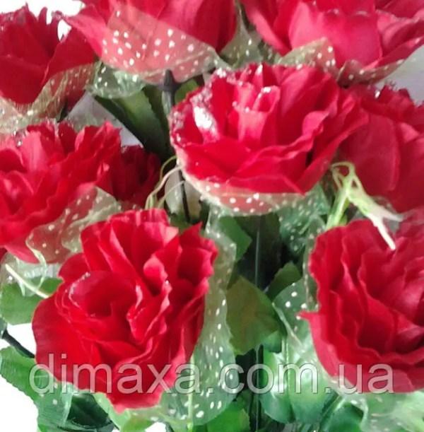 Букет искусственных цветов Роза гофре с вуалью и добавками ...